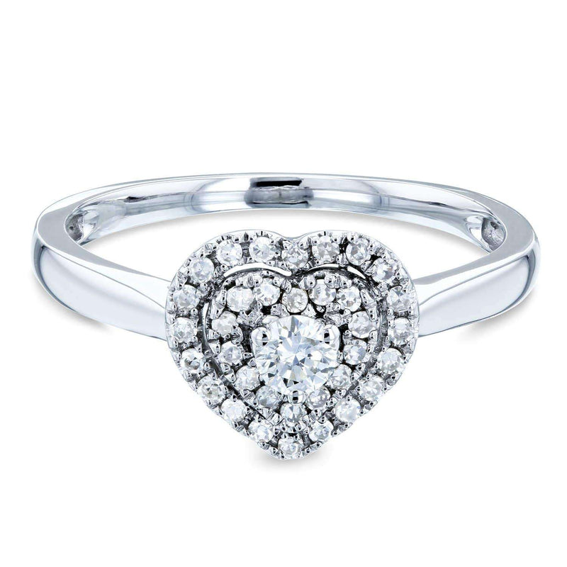 Kobelli Heart Cluster Double Halo Taper Shank Diamond Ring 1/5 Carat TW 14k White Gold