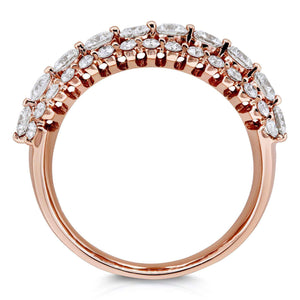 Three Row Diamond Band 10k Rose Gold (1 CTW)