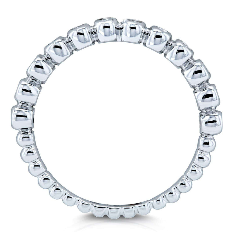 Kobelli Ribbed Bezel Diamond Band 10k White Gold