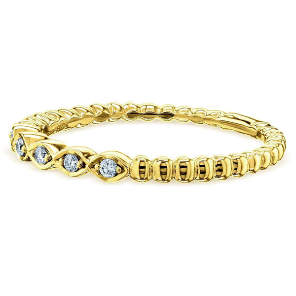 Kobelli Ribbed Navette Pattern Diamond Accent Band 10k Yellow Gold