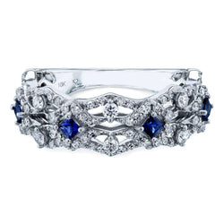 Kobelli Sapphire and Diamond Fashion Band 3/4 Carat TW 10k White Gold