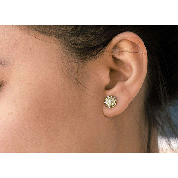 Kobelli Cluster Diamond Stud Earrings 10k Gold