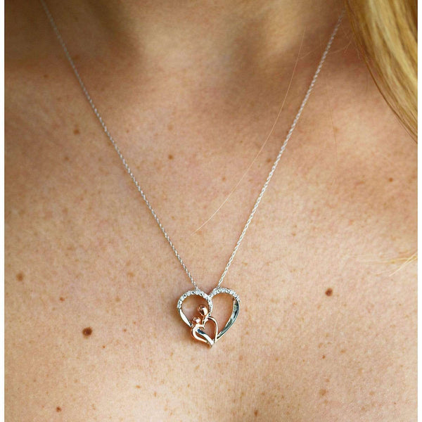 Kobelli Mother and Child Diamond Heart Necklace 10k Two Tone Gold 62551-WR