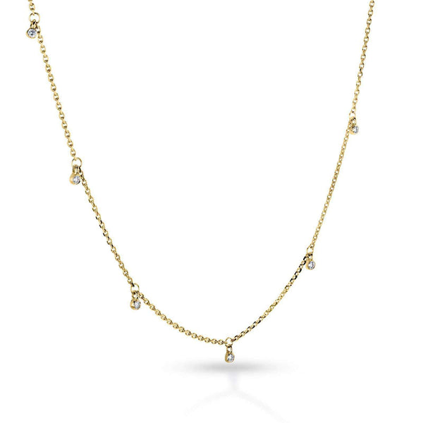 Kobelli Diamond Accent Drops Station Necklace 14k Gold 62554/Y