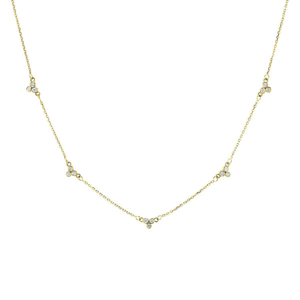 Kobelli Triple Bezel Diamond Necklace 14K Gold, 18 or 16 Inch