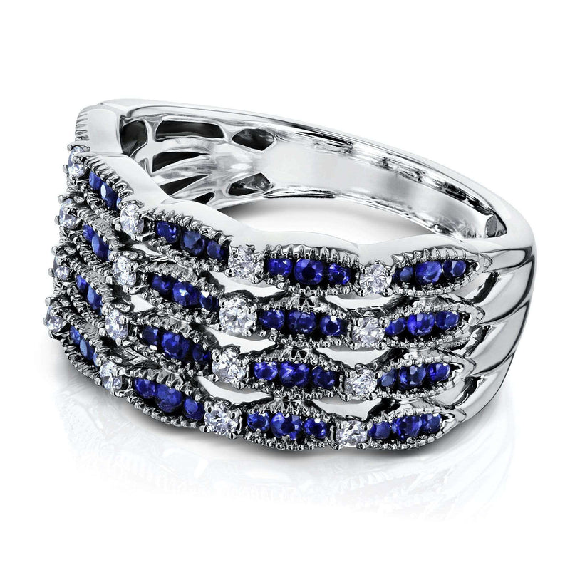 Kobelli Sapphire Patterned Wide Ring
