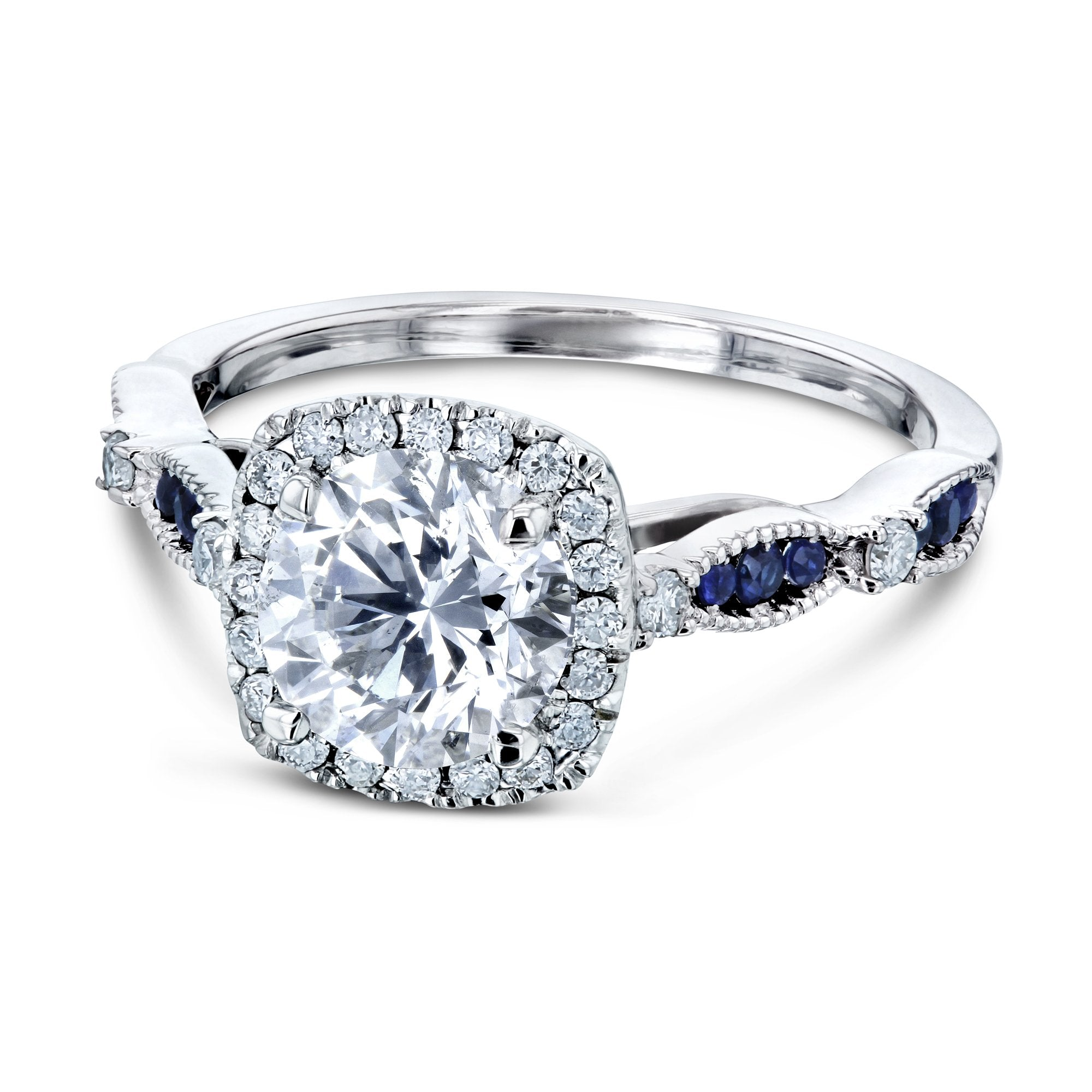 Compare Round Diamond and Blue Sapphire Ring - 11.0
