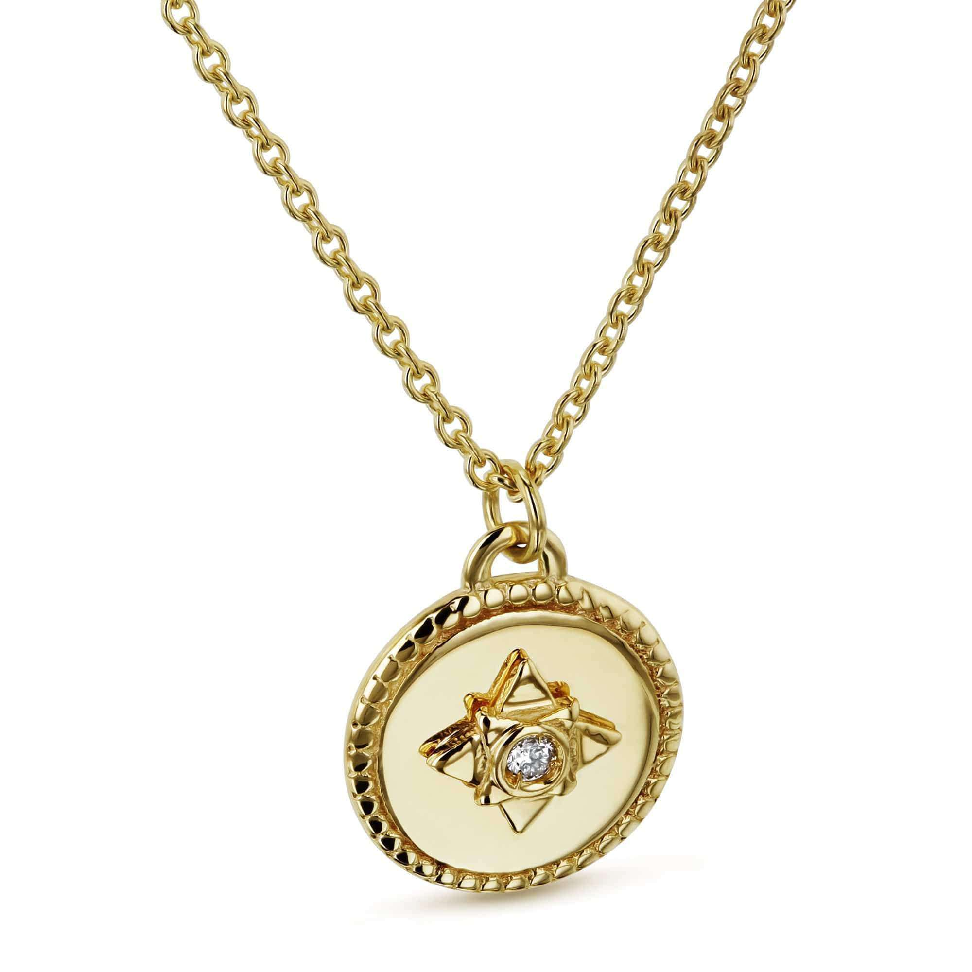 1.3pt Diamond Small Medallion Star Adjustable Necklace 14k Gold