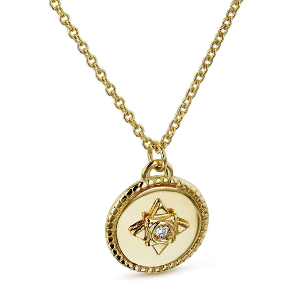 Kobelli 1.3pt Diamond Small Medallion Star Adjustable Necklace 14k Gold 62567-Y
