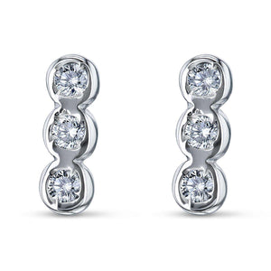 1/15ct Diamond Bezel Set Trio Stud Earrings
