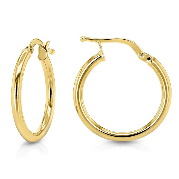 Kobelli 14k Gold Hinged Hoop Earrings (15mm x 2mm)