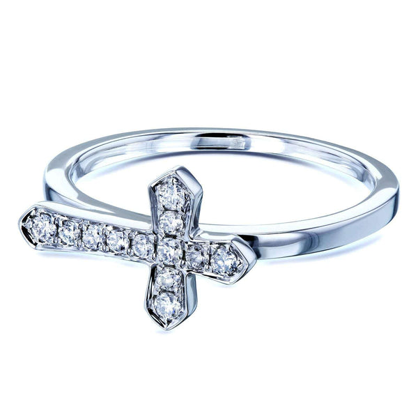 Kobelli Religious Diamond Cross White Gold Ring