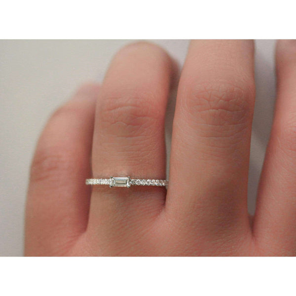 Kobelli Petite Sideways Baguette Diamond White Gold Promise Ring