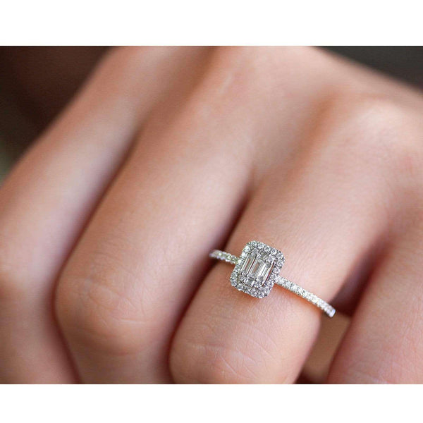 Kobelli Multi Diamond Rectangular Cluster Half Eternity Low Setting Ring