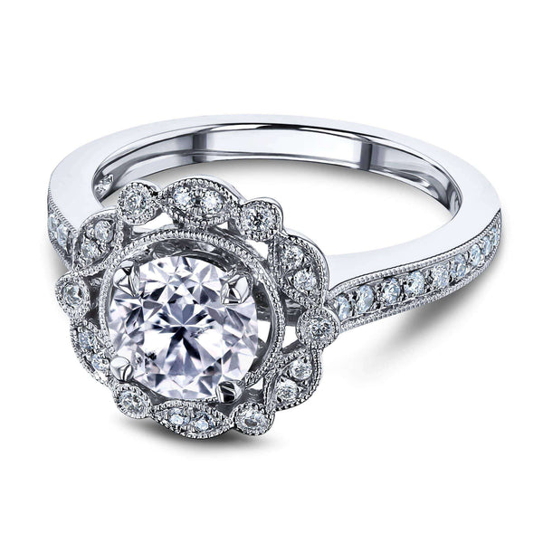 Kobelli Vintage Floral Diamond Halo Ring