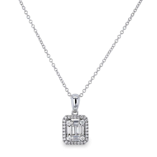 Kobelli Diamond Baguette Cluster Halo Pendant and Chain 14k White Gold 62617