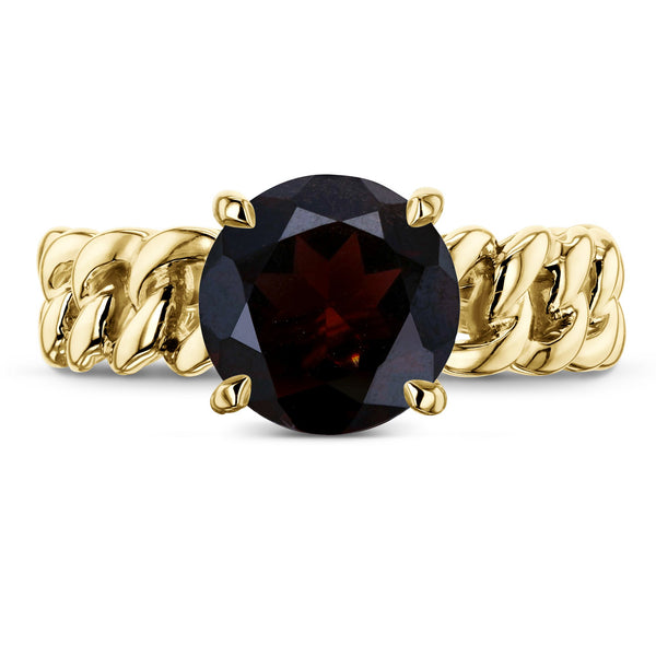 Kobelli Gold Chain Links 8mm Garnet Ring