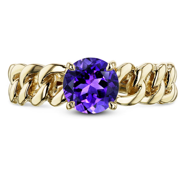 Kobelli Gold Chain Links 6mm Amethyst Ring