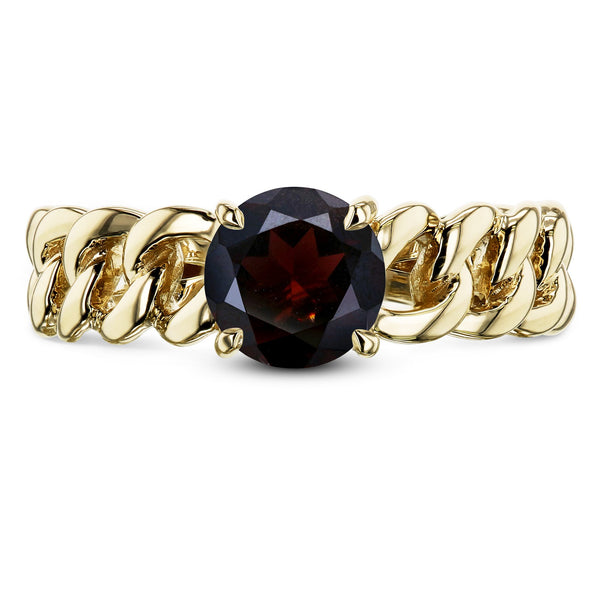 Kobelli Gold Chain Links 6mm Garnet Ring