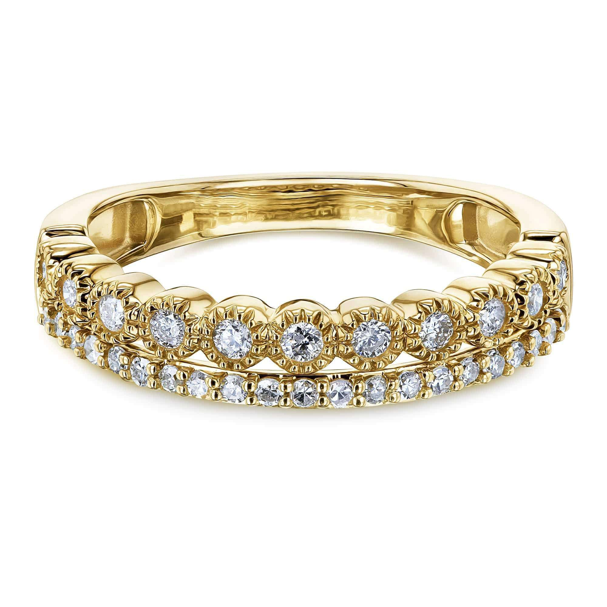 Mixed Set Double Row Diamond Band 10k Yellow Gold