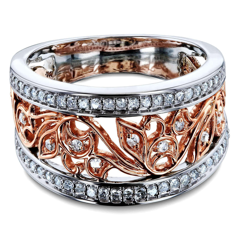 Kobelli Floral Filigree Anniversary Ring Two Tone Gold