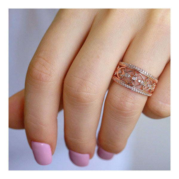 Kobelli Diamond Filigree Anniversary Ring Rose Gold