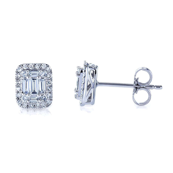 Kobelli Diamond Baguette Cluster Stud Earrings 10k Gold 62650-W