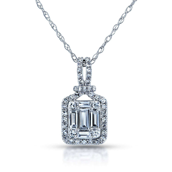 Kobelli Multi Diamond Halo Pendant and Chain 10k White Gold 62651-W