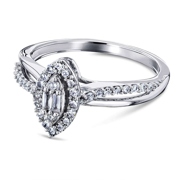 Kobelli Diamond Marquise Shape Cluster 10k White Gold Ring