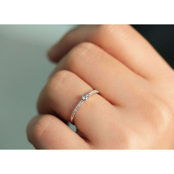 Kobelli Low Petite Diamond Promise Ring 10k White Gold