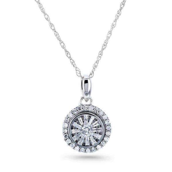 Kobelli 1/4 Carat TDW Round Cluster Diamond Necklace 10k White Gold 62658-W