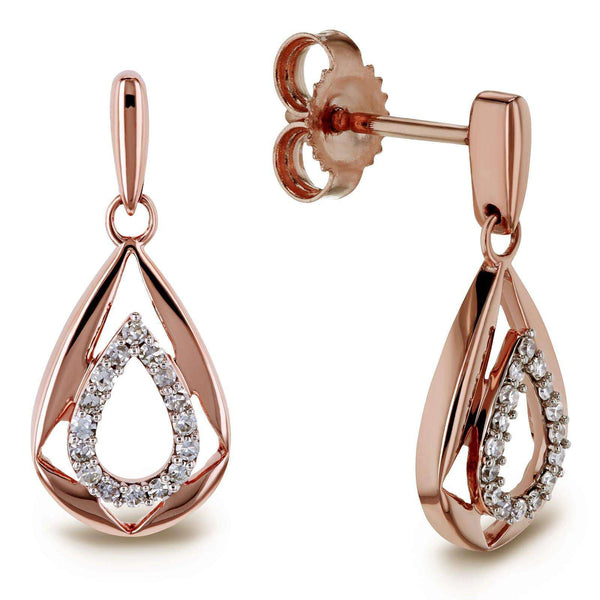 Kobelli Diamond Droplet Dangle Earrings 10k Rose Gold 62659-R