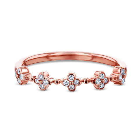 women's floral diamond band in rose gold