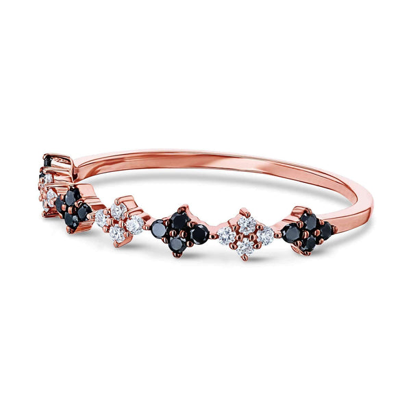 Kobelli Black and White Diamond Rose Gold Ring