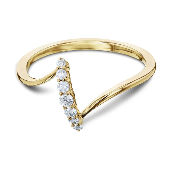 Kobelli Diamond Z Shaped Gold Ring