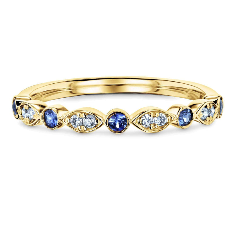 Kobelli Bezel Sapphire Pave Diamond Patterned Gold Band