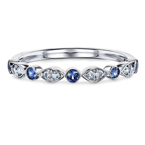 Bezel Sapphire Pave Diamond Patterned Gold Band