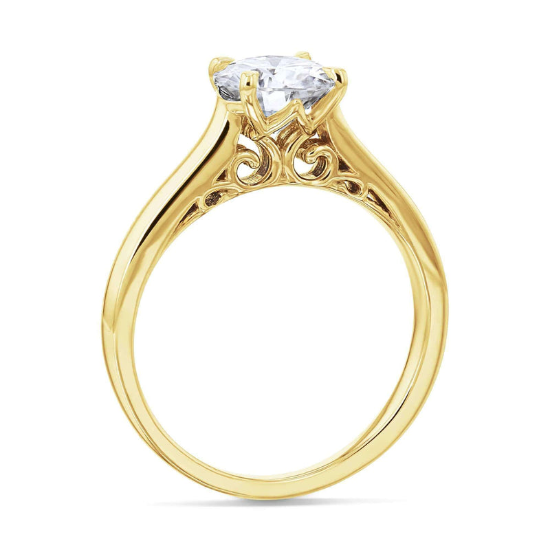 Kobelli 1ct Round Diamond Volutes W-Head Ring