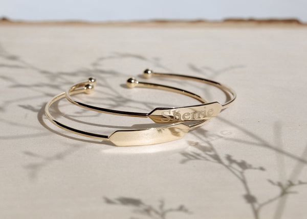 Kobelli Engravable ID Open Cuff Bangle