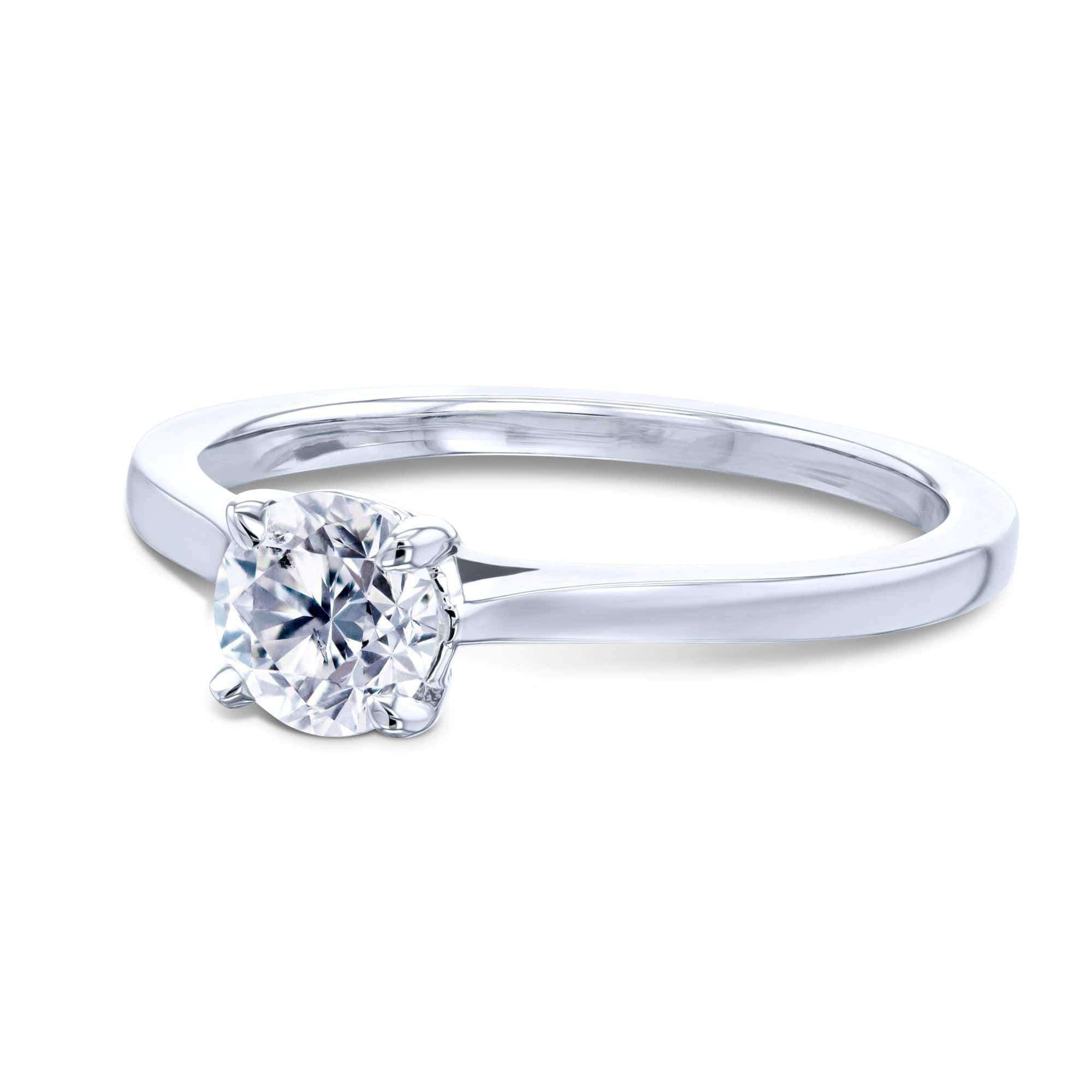 Top 1/2ct Round Diamond Solitaire Ring - white-gold 8.5