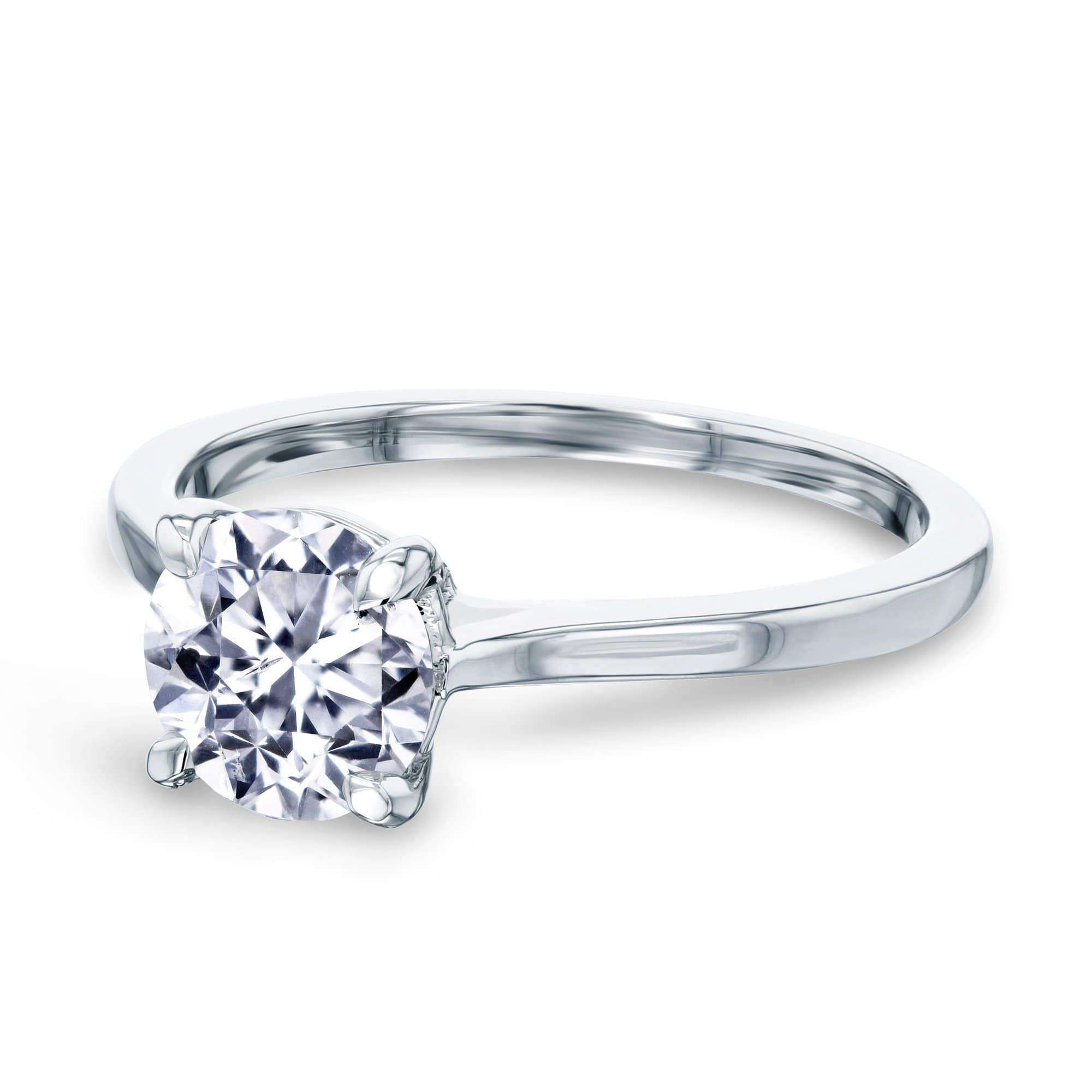 Promos 1ct Round Diamond Solitaire Ring - white-gold 8.0