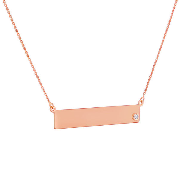 Kobelli Custom Diamond Accented Gold Name Plate Necklace 62739-LUC/R