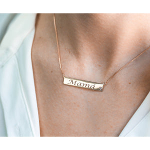 Custom Diamond Accented Gold Name Plate Necklace