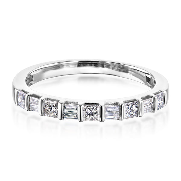 Kobelli Princess and Baguette Diamond Band