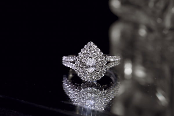 Kobelli Pear Cluster Double Halo Split Shank Diamond Ring