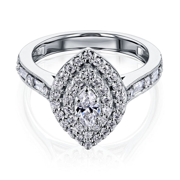 Marquis Double Halo Diamond Cluster Ring