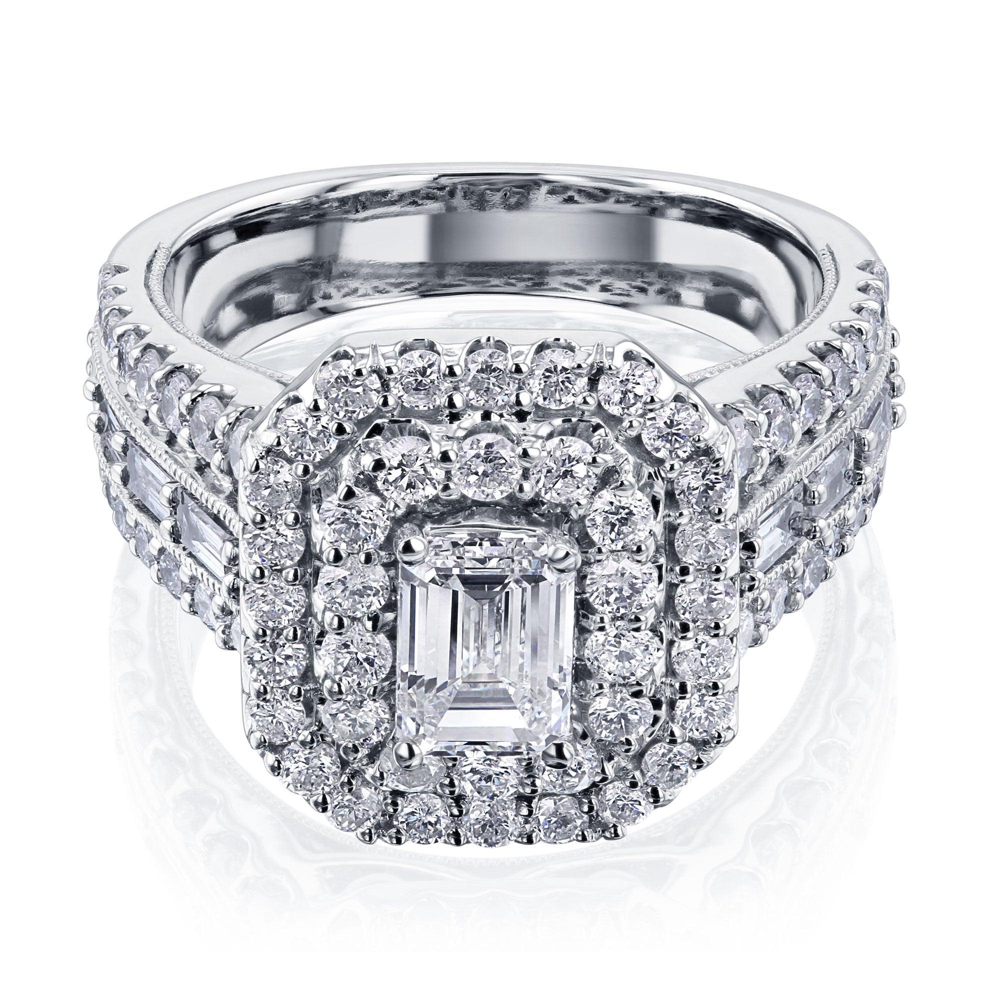 Promos Emerald Double Halo Diamond Cluster Ring - 11.0