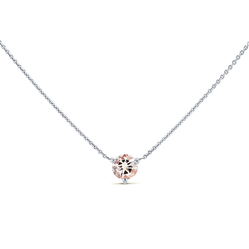 1/2ct Morganite Solitaire 3-Prong Necklace