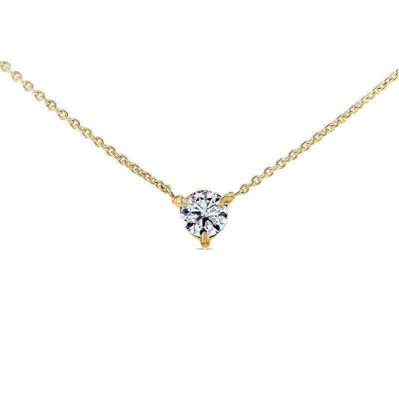 1/3ct Diamond Solitaire 3-Prong Necklace