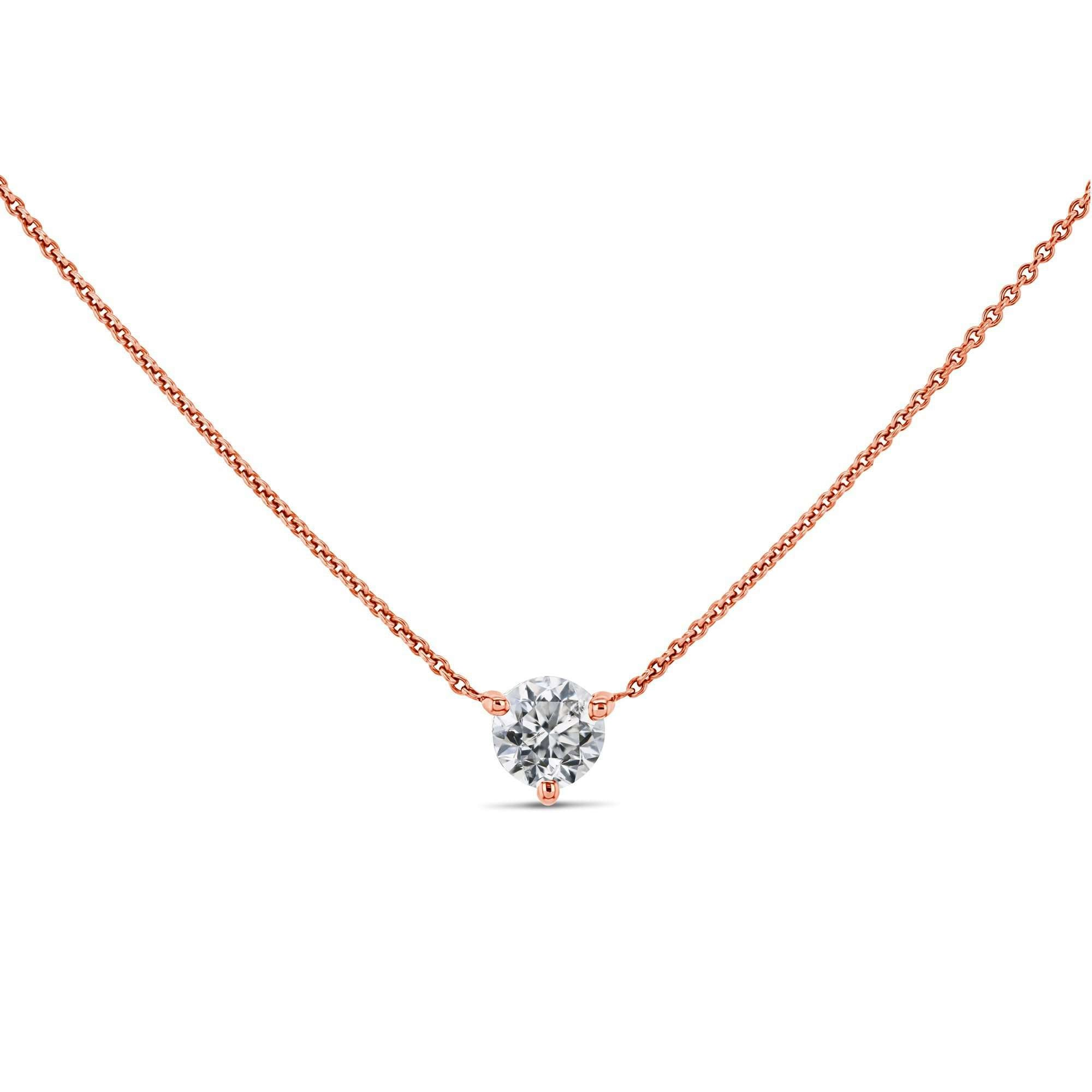 Cheap 1/2ct Diamond Solitaire 3-Prong - rose-gold